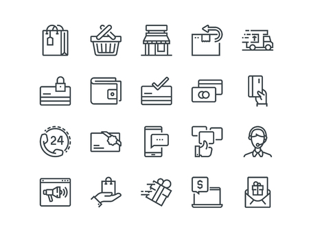 E-commerce. Set of outline vector icons. Includes such as Shopping, Promotion, Support and other. Editable Stroke. 48x48 Pixel Perfect.