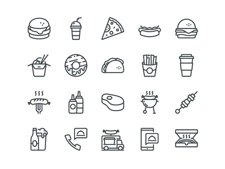 Fastfood. Set of outline vector icons. Includes such as Cheeseburger, Donut, Pizza and other. Editable Stroke. 48x48 Pixel Perfect. Ilustração