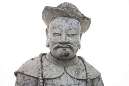 Chinese ancient stone statue with smiling face and friendly. photo