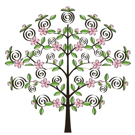 nice little apple tree with pink flowers Stock Vector - 3196586
