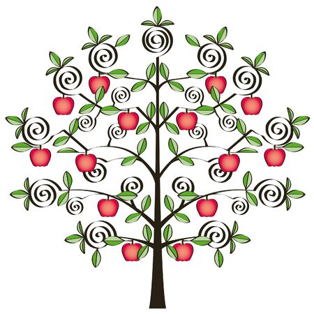 nice little apple tree with red apples Vector