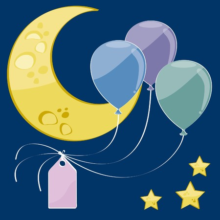 three balloons by a beautiful starry night with place for your text