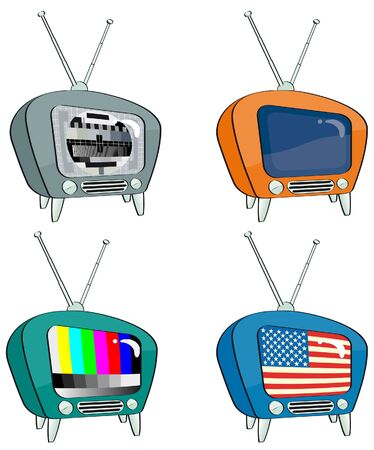 four old-style television with different screens Illustration