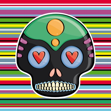 candy skull on a colored background Mexican style