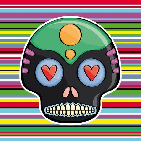 przerażający: skull candy na kolorowym tle Meksykanin tytułują Ilustracja