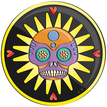 candy skull in front of a yellow and black decor with heart Illustration