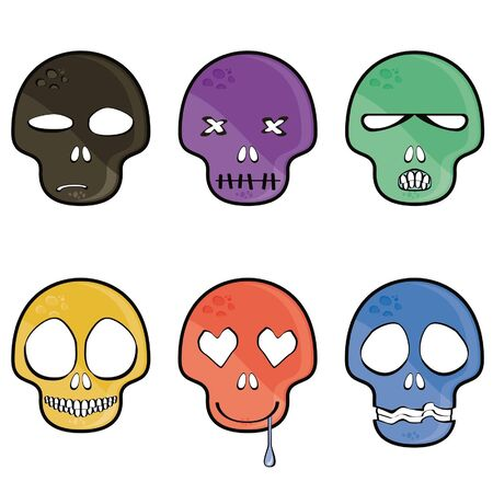 frightening: emotion skull isolated on white background Illustration