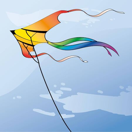 float fun: multicolor kite in the sky with clouds Illustration