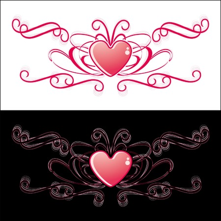modifiable: two identical hearts on black or white background Illustration