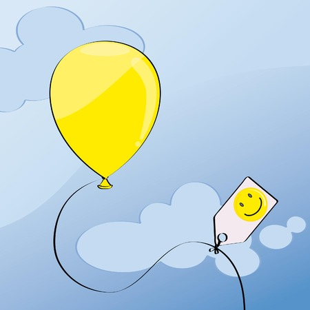 yellow balloon on blue sky with place for your text
