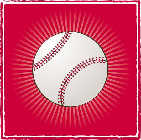 Ball baseball on a red background Illustration