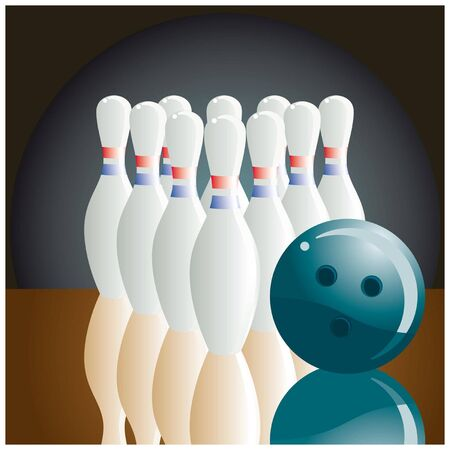 The beginning of a party of bowling Illustration