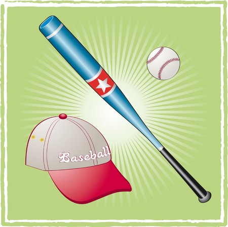 Baseball equipment on a green background Vector