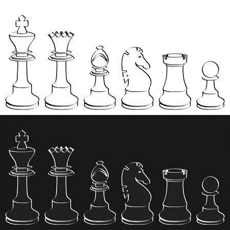 chess knight: Chesspieces di sfondo bianco e nero