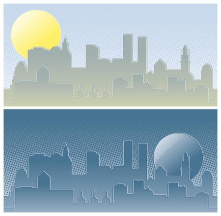 a city by day and night