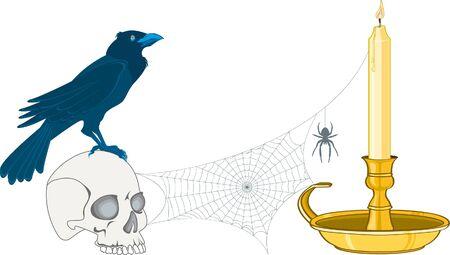 cranium: crow on a cranium with candle