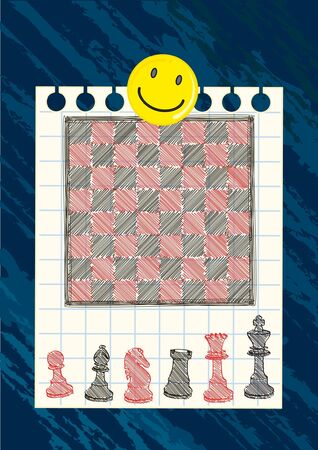 black and red chessboard drawing on grid paper Vector