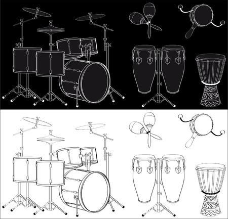 Percussion instruments set Vector