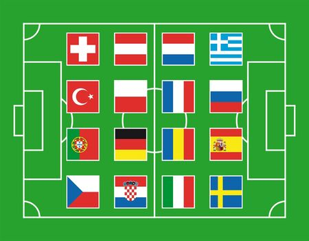 Soccer field with flags of European countries Stock Vector - 3213127
