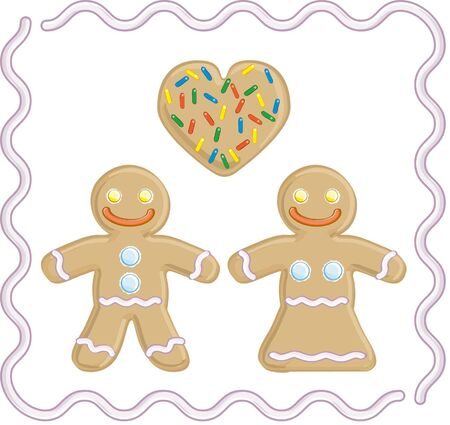Gingerbread man and gingerbread girl in love Illustration
