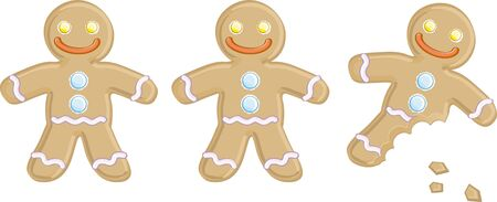 three gingerbread man isolated on a white background