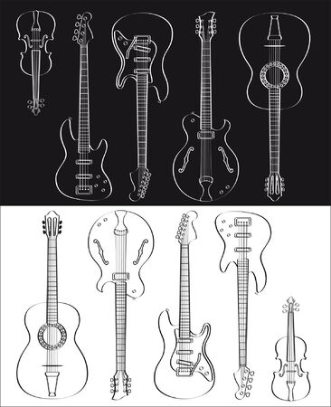 Guitar and violin set isolated on white or black