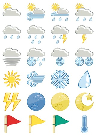 Weather vector icon-set cartoon style isolated on white