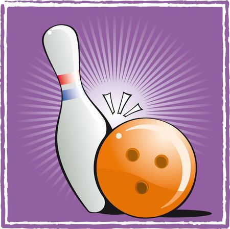 Ball and pin bowling on purple background Illustration