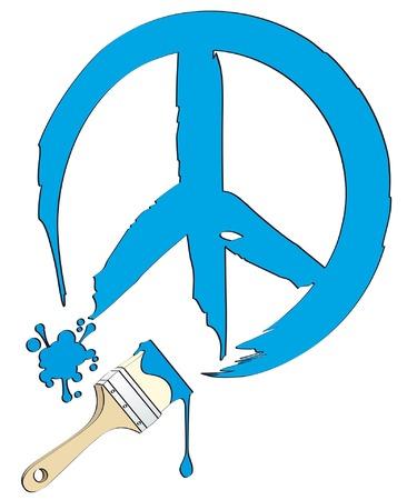 peace painting isolated on white background Illustration