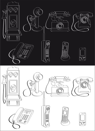call history: Phone evolution complete set isolated on white or black