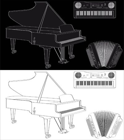 String and keyboard instrument set isolated on white or black Illustration