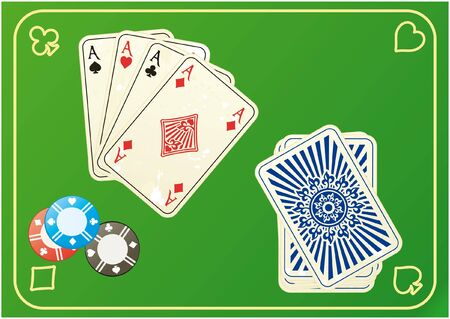 Four aces with joker and poker chip Vector