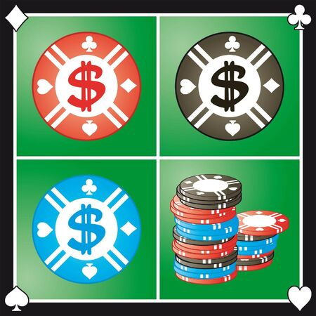 Background with poker chips Stock Vector - 3213081