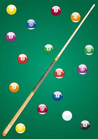 9 ball: all pool balls and Cue