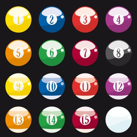 thirteen: pool balls on black background Illustration