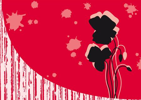 in the shade: red background with shade of poppy Illustration