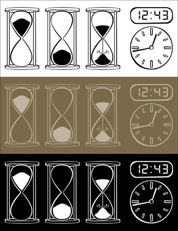 Hourglass and clock isolated on different background
