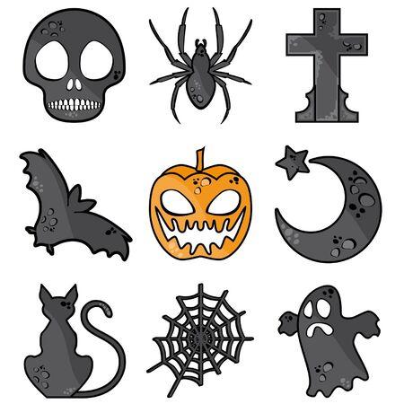 nine Halloween symbols isolated on white