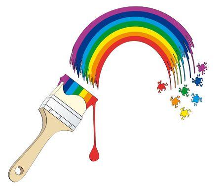 Rainbow painted  isolated on white background