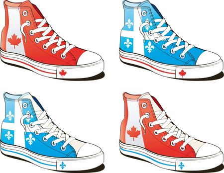 quebec: shoe with flag canada and quebec isolated on white background
