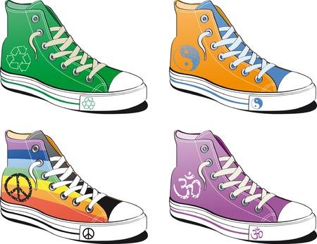 Shoes with peace symbol isolated on white background