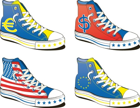 shoe with flag europe and usa isolated on white background