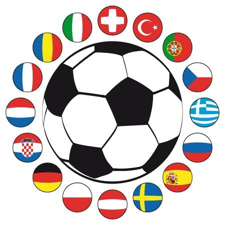 soccer coach: Soccer ball with flags of European countries