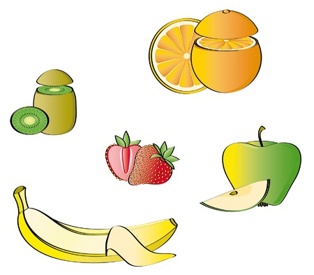 Some fruits isolated on a white background Vector
