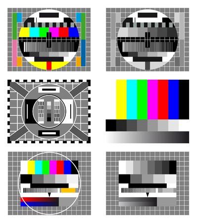 Zes televisie test scherm kleur en zwart-wit  Vector Illustratie