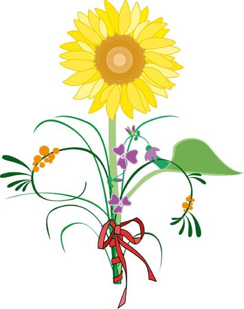 bunch of flowers with beautiful sunflower Illustration