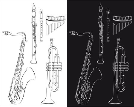 Wind instruments set isolated on white or black