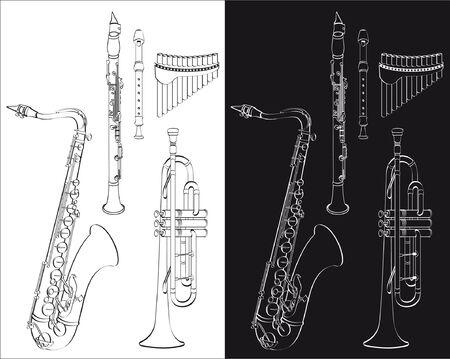 Ensemble d'instruments à vent isolé sur un fond blanc ou noir