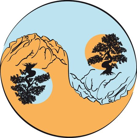 yin and yang in landscape of mountain