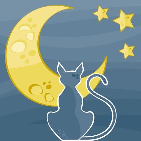 gato silueta de un hermoso noche estrellada Ilustración de vector